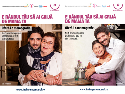 """IT'S YOUR TURN TO TAKE CARE OF HER""  breast cancer campaign"